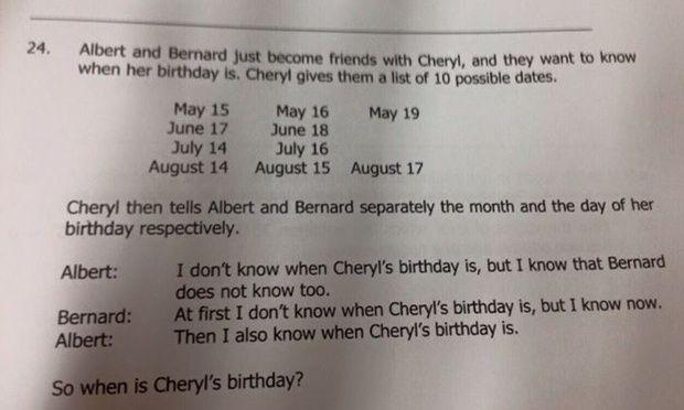 cheryl problem Singapore math problem viral
