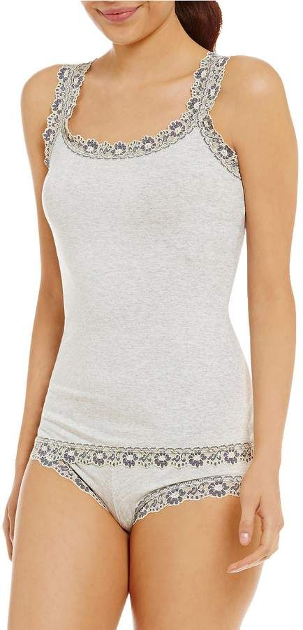 77c984bc4 Hanky Panky Classic Lace-Trimmed Jersey Camisole  Classic Panky Hanky