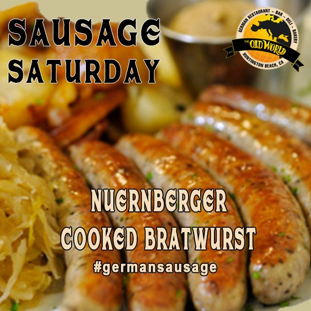 It's #SausageSaturday ! You know what that means? It's time to come into @OldWorldHB and try our Nuernberger Cooked Bratwurst Sausage ! Did you know that the pig is a good luck symbol in Germany? Probably didn't, but now ya do.  #sausage #germany #germansausage #foodie #Oldworld  #oc #hb #OCbars #OCrestaurants #huntingtonbeach #ca #drinksondrinks #oldworldhb