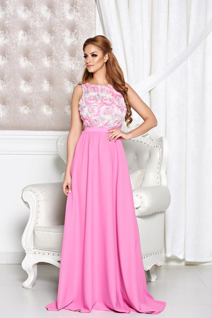 StarShinerS Irresistible Allure Rosa Dress, raised flowers, back zipper fastening, veil