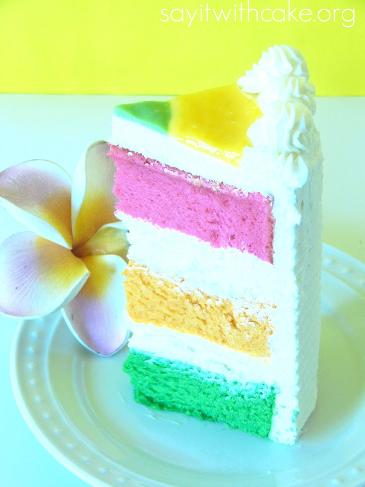 Yummy Hawaiian Paradise layer cake with layers of guava, passion fruit, and lime chiffon cake filled with whip cream cream cheese frosting
