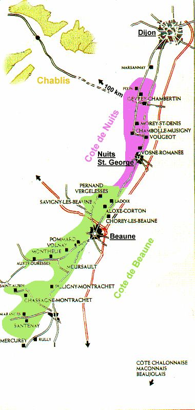 Map of the Cote d'Or, Burgundy's wine region centered on Beaune