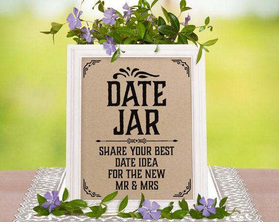 Date jar sign. Rustic wedding decor. Wedding shower by SunnyNotes