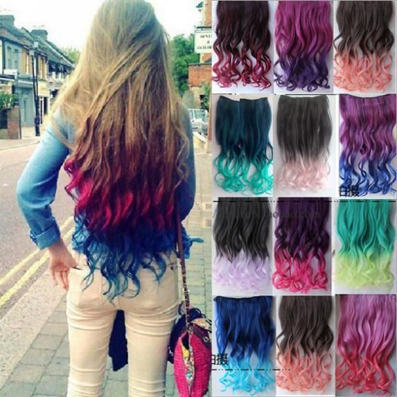 2 Tone Colored Ombre Hair Extensions Colorful Hair Clip in Hair Extensions Clip on Hairpieces Synthetic