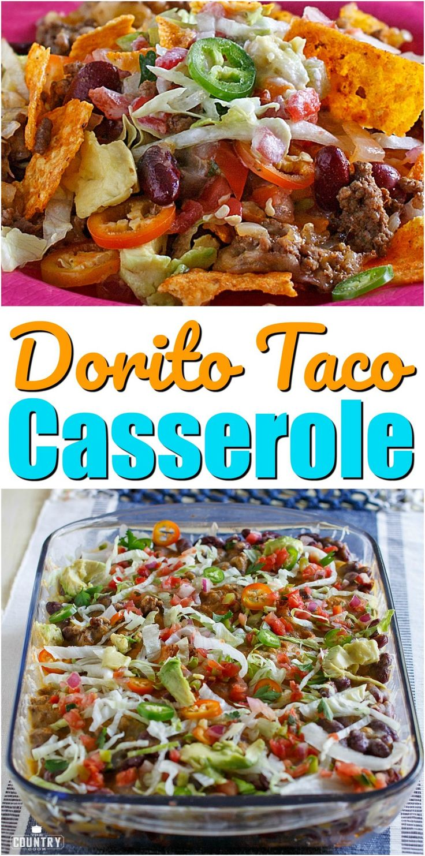 Dorito Taco Casserole recipe from The Country Cook #groundbeef #casserole #easy #dinner #ideas