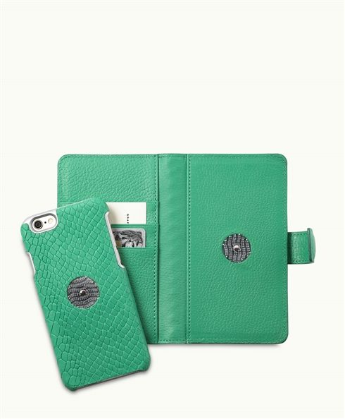 Island Green Embossed Python</div> iPhone 6 Wallet Case | Embossed Python Leather
