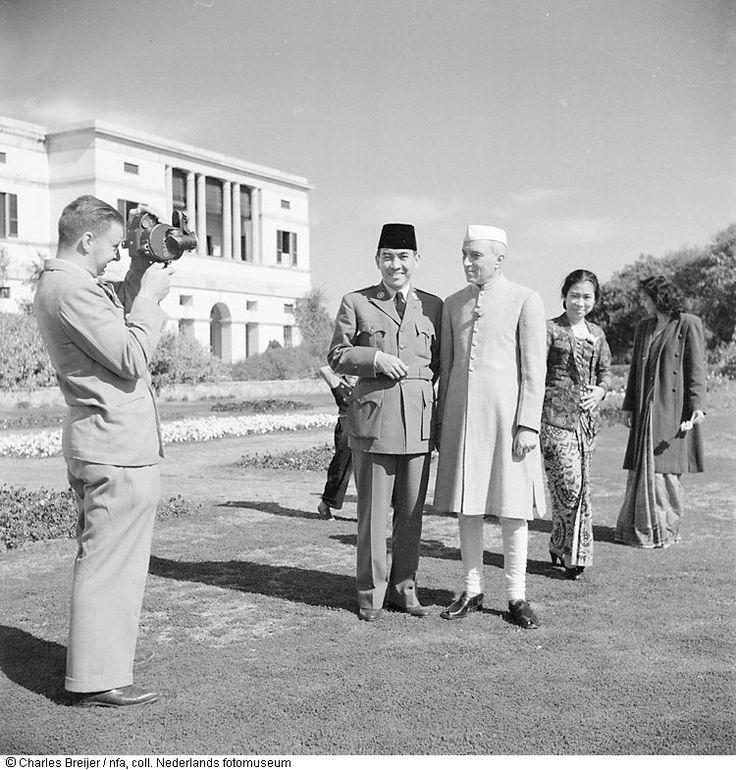 Charles Breijer filmt president Soekarno en Nehru tijdens staatsbezoek aan India (1950)