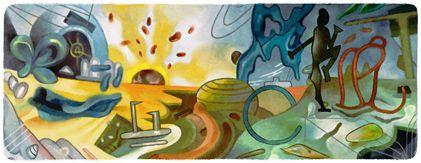 """""""Roberto Matta's 101st Birthday"""" Google dedicó a través de su Doodle un homenaje al pintor en el aniversario 101 de su nacimiento en 2012."""