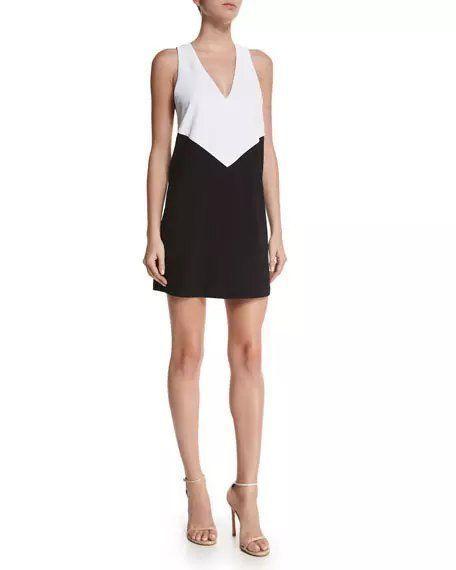 $265 Alice + Olivia Black White Colorblock Maya Trapeze Dress XS 0 2 NWT A890 #AliceOlivia #Shift #Cocktail
