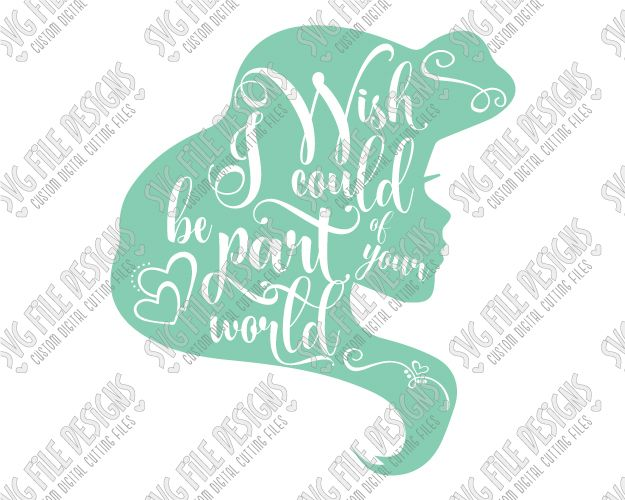 Ariel Silhouette Disney Word Art Cut File Set in SVG, EPS, DXF, JPEG, and PNG