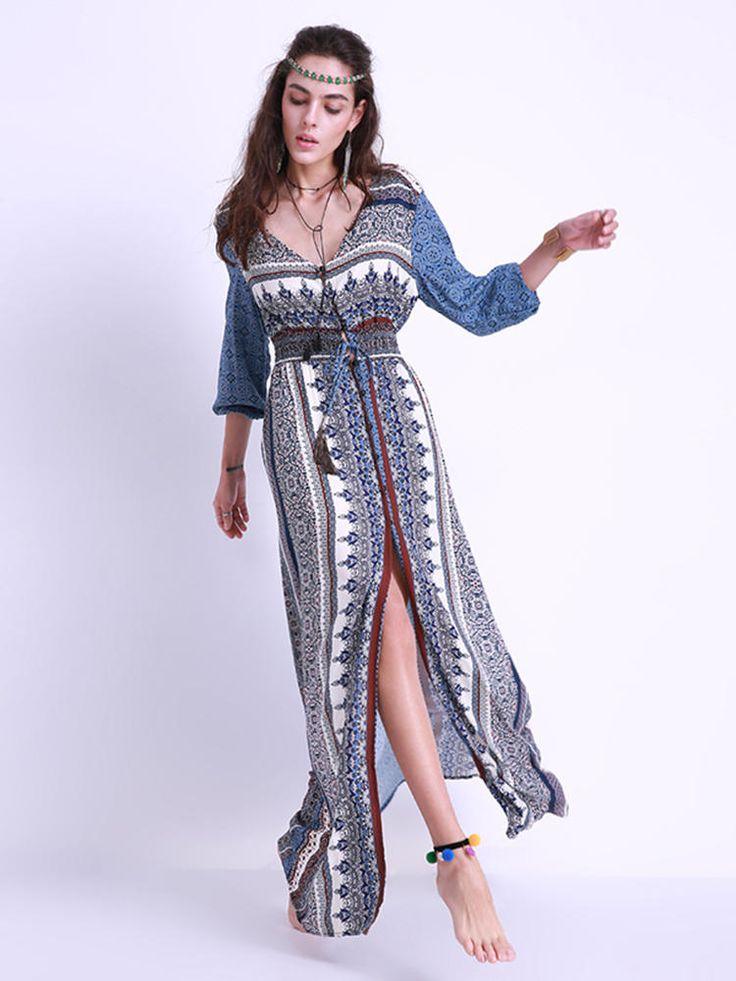 Sexy Women Printing Elastic Waist Split V-Neck Long Sleeve Dresses at Banggood