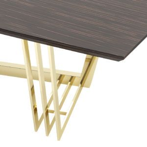 D'Arc Dining Table - Laskasas | Decorate Life | Inspired by Joanna D'Arc, the great French warrior, D'Arc dining table is a solid wood dining table that resembles the brown armor as well as the gold details pay tribute to the sword of the heroine. All materials are customizable making it possible to fit any décor. A stunning interior design piece that can stand out in every interior design. | www.laskasas.com
