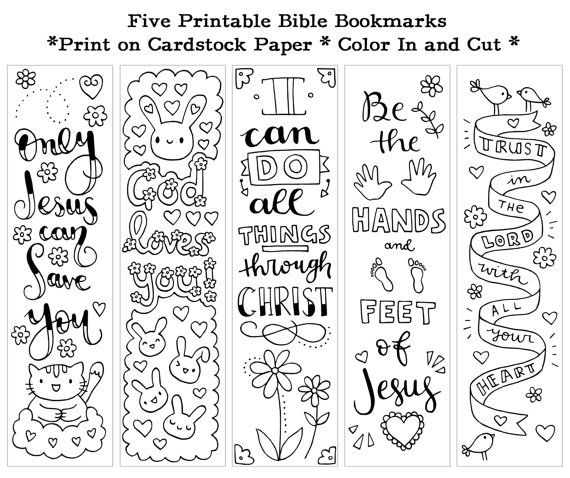 Five Instant Printable Color In Cute Bible Bookmarks by