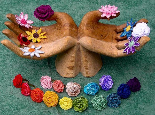 Crochet Flower Rings   Flickr - Photo Sharing!