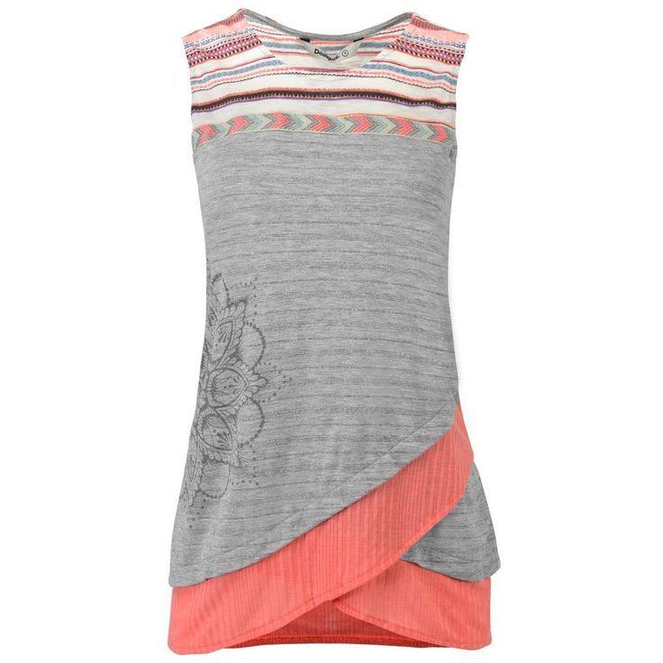 Desigual Damen Shirt T-Shirt Top Damenshirt Lagen-Look Webmuster Mandala-Print