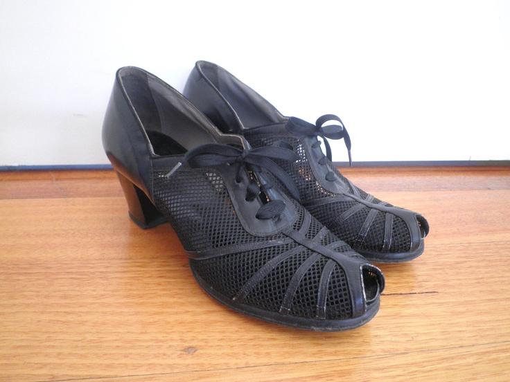 1930s Mesh Peep-Toe Lace Up Heels. $65.00, via Etsy.