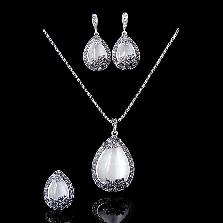 Vintage Statement Jewellery Antique Silver Plated Big Water Drop Pendant Necklace Sets Natural Stone White Opal Jewelry Sets www.bernysjewels.com #bernysjewels #jewels #jewelry #nice #bags