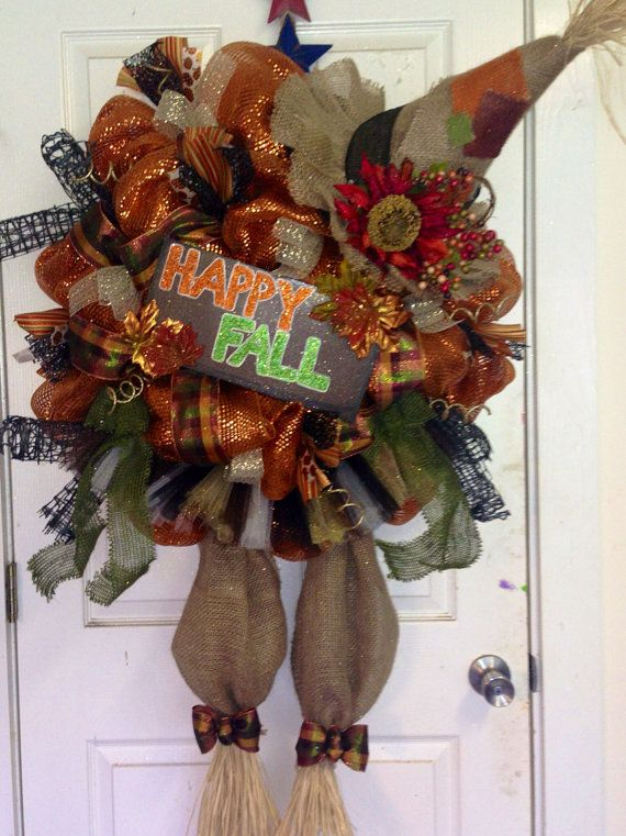 Scarecrow Fall Wreath by HighMaintenanceDes on Etsy