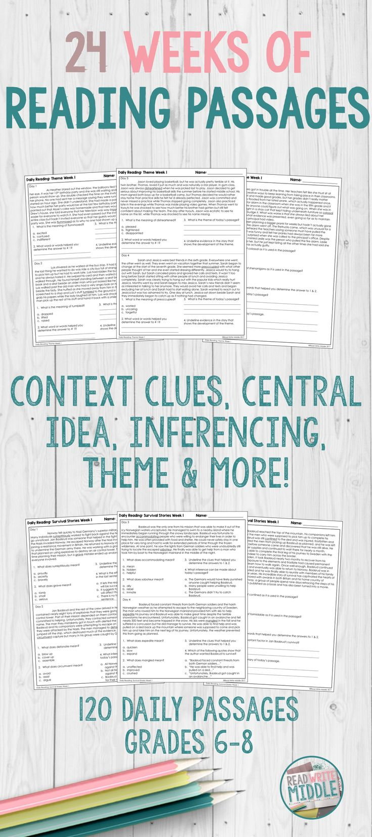 Middle school reading comprehension passages and questions are great test prep that focuses on context clues central idea, inferences, theme & more! #teacher #reading #middleschool #testing