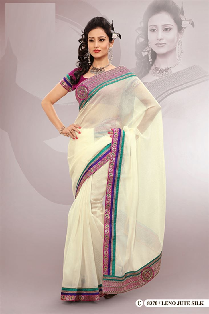 Cream Organza Silk Embroidered Saree With Blouse