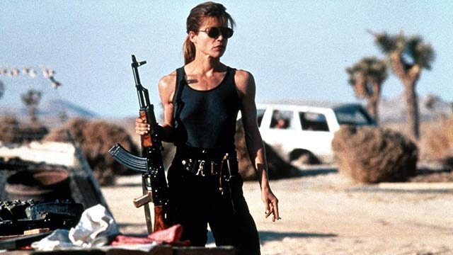 Linda Hamilton    Action Credentials: The Terminator franchise  Weapon of Choice: Colt Commando CAR-15 Rifle