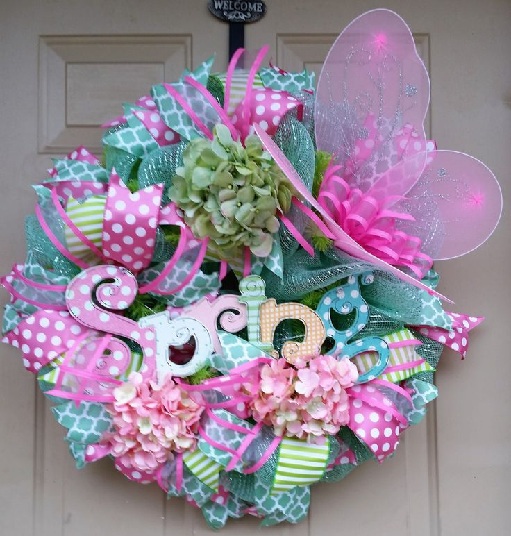 Whimiscal Spring Wreath, Mint Green and Pink Spring Wreath, Pink Butterfly Spring Wreath, Spring Wreath, Spring Decor, Front Door Wreath by RebelHeartedGypsy on Etsy