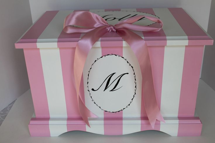 Baby Keepsake Box chest baby memory box personalized - Parisian Pink Stripe - baby girl gift hand painted baby shower gift by staciedale on Etsy