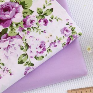 1Pcs Cotton Print Fabric Cloth Woven Purple Flowers DIY Craft Sewing Accessories Scrapbooking Quilting  Woven Patchwork 160cm width