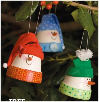 Clay pot snowman ornaments/ for gift tags use wooden pots , smaller and safer! Ends of gloves will work for hats!
