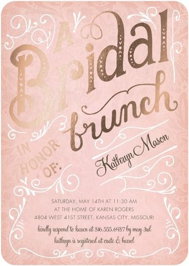 Bridal Brunch - Signature Foil Bridal Shower Invitations - Petite Alma