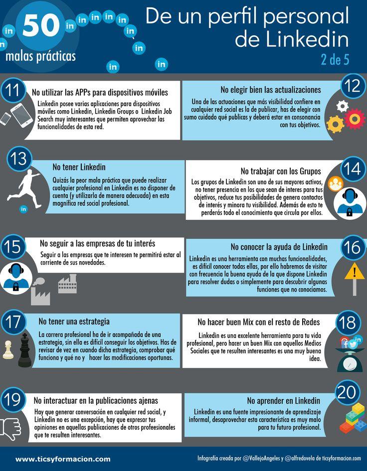 50 malas prácticas de un perfil de LinkedIn (2 de 5) #infografia
