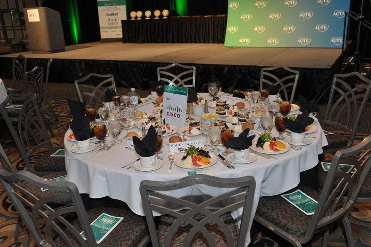 Banquet attendees enjoy an elegant three-course meal.