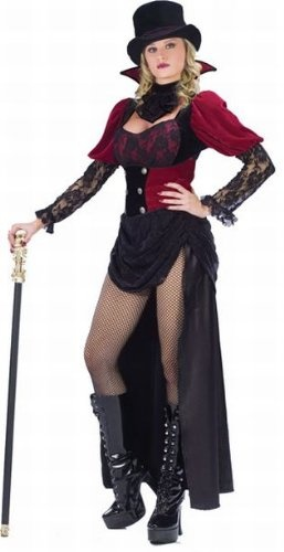 Female Victorian Vampire Costume - 7 Piece Set - Small/Medium - Top with Back Train Skirt and Attached PantyLace-Up Waist Cinch and JabotVampire Collar and Black Top HatSmall/Medium (Fits Women Sizes 2-8) Medium/Large (10-14)