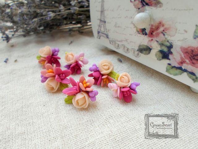 polymer clay roses earrings