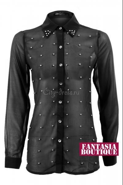 Черная блузка с бисером