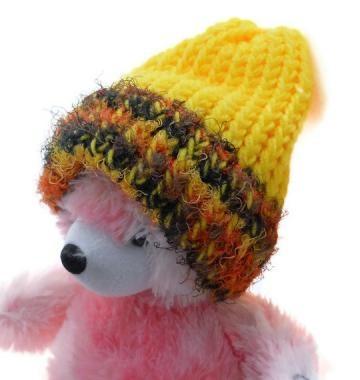 Knitted Baby Hat Fall Colors - Yellow - Orange - Brown - Black - Fun Fur $6