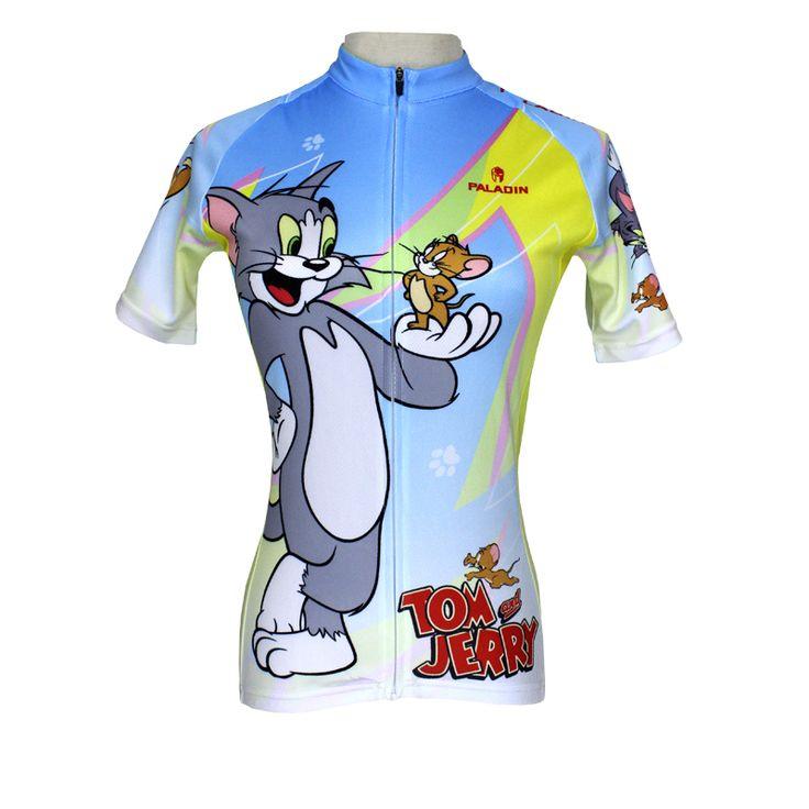 Women Cycling Jersey  Tom And Jerry Cycling Clothing Women Bike  Cartoon Short Sleeve Cycling Jersey QX099