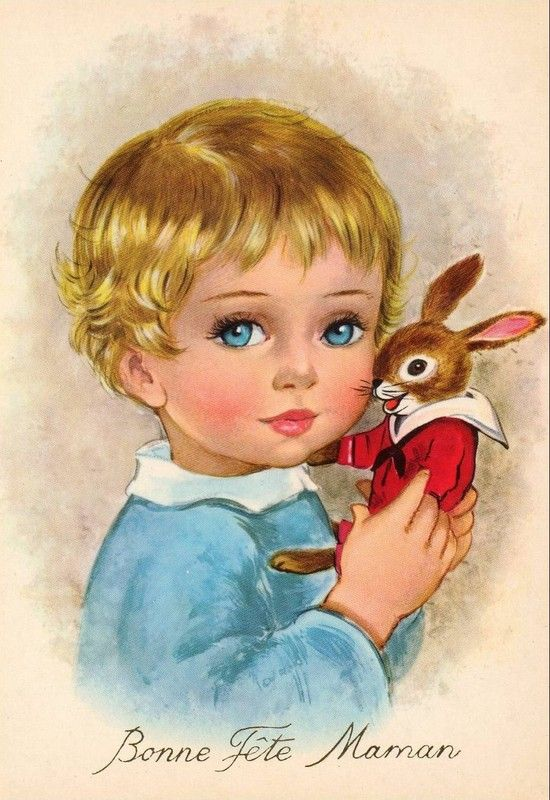 French postcard with a little blonde haired boy in blue holding a toy rabbit in red