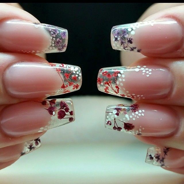 Inspiration Encapsulated flowers from... - Acrylic Nails