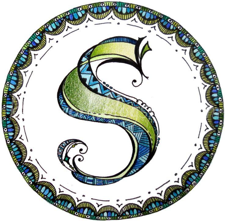 """Zenspirations Monogram """"S"""" inspired by Joanne Fink's Zenspirations video on monograms"""