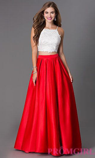 Floor Length Two Piece Spaghetti Strap Dress by Dave and Johnny at PromGirl.com
