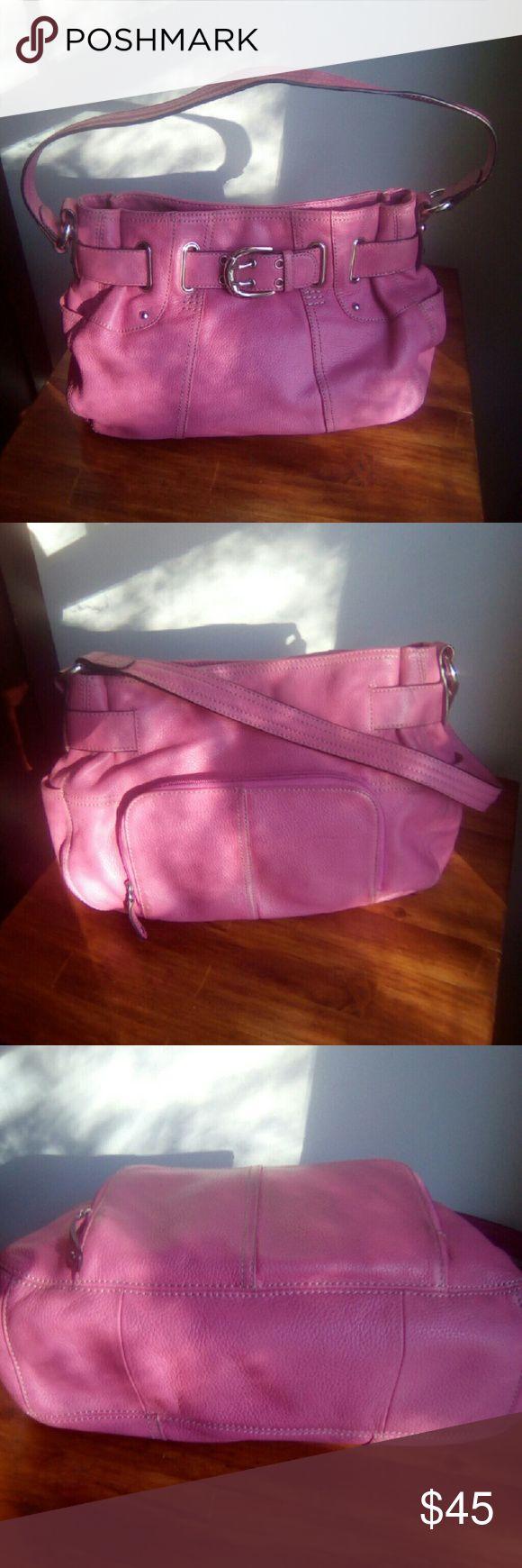 Tignanello Handbag Great used Handbag, in good condition. Pink is color. Zipper pocket on back, pic 2. Inside zipper pocket & small o e. Tignanello Bags Shoulder Bags
