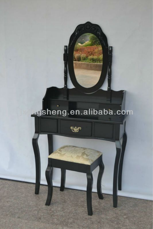 Mirror European Style Black Lacquer Wood New Design Dressing Table $60~$80