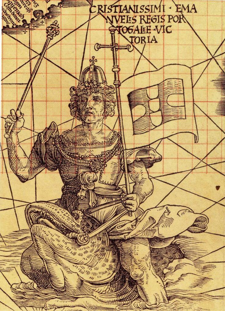 """""""King Manuel of Portugal riding a sea creature off the southern tip of Africa, symbolizing Portugal's control of the seas, on Martin Waldseemüller's 'Carta Marina' of 1516"""