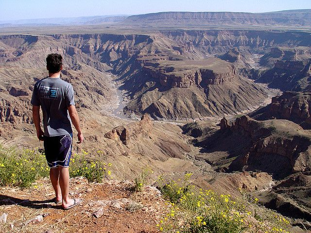 Hiking Namibia's Fish River Canyon. << Fish River Canyon, situated along the lower reaches of the Fish River in southern Namibia, is one of Africa's most impressive natural wonders. At 550m deep, 27km wide and 160km long it is Africa's longest canyon and the second largest in the world, after the Grand Canyon in Arizona.
