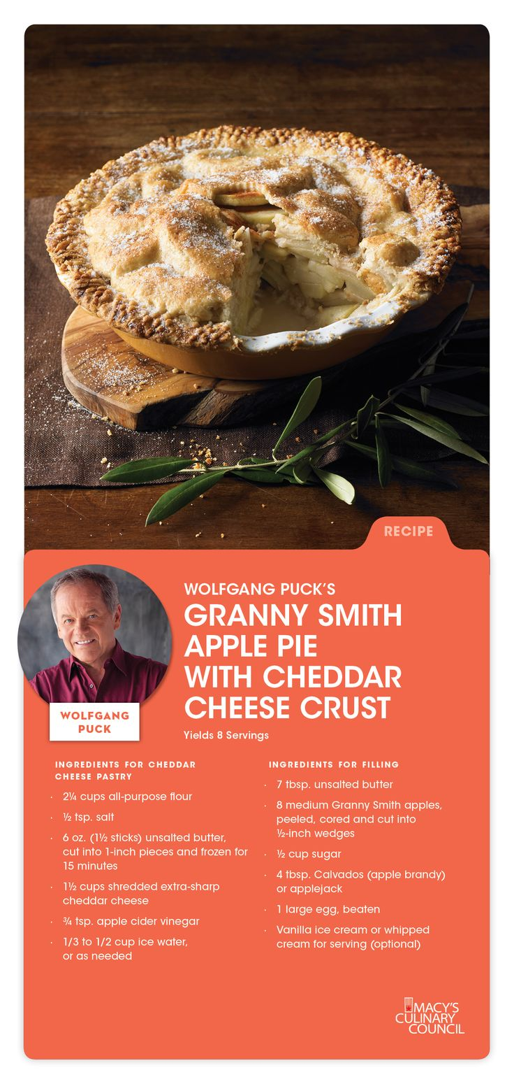 Macy's Culinary Council Chef Wolfgang Puck's Granny Smith Apple Pie with Cheddar Crust