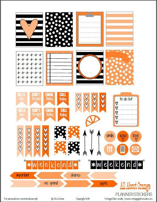 Beautiful All About Orange Planner Stickers Free Printable Download