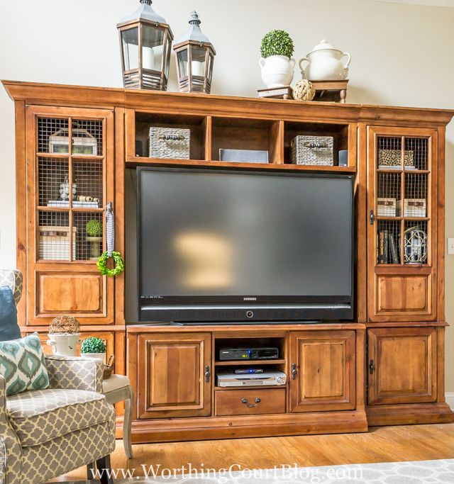 Entertainment Center Makeover and Replacing Glass Doors With Wire Inserts