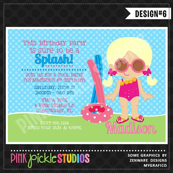74 best Shop INVITATIONS from Pink Pickle Parties images on - birthday invitation swimming party