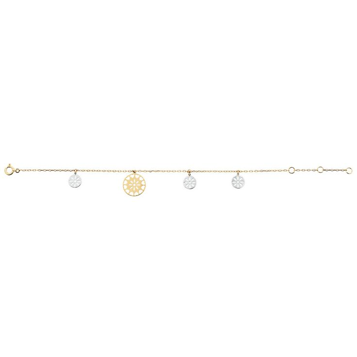 This pretty 10kt gold bracelet is bound to turn heads, featuring  contrasting, multi-size white and yellow gold discs with cut out flower patterns, on a yellow gold chain.
